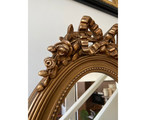 Miroir ovale doré 60 x 40 cm