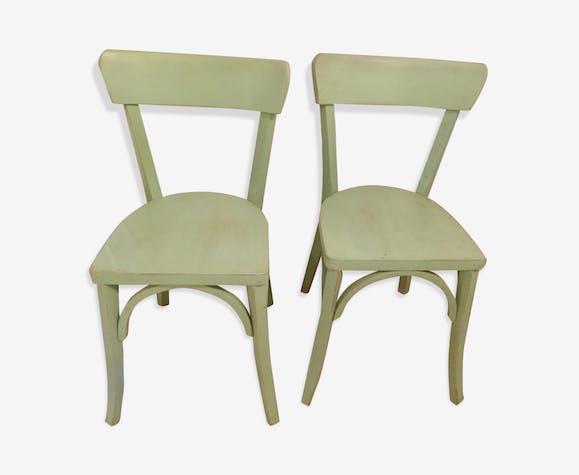 lot de 2 chaises de bistrot vintage bois mat riau vert vintage o2jrlai. Black Bedroom Furniture Sets. Home Design Ideas