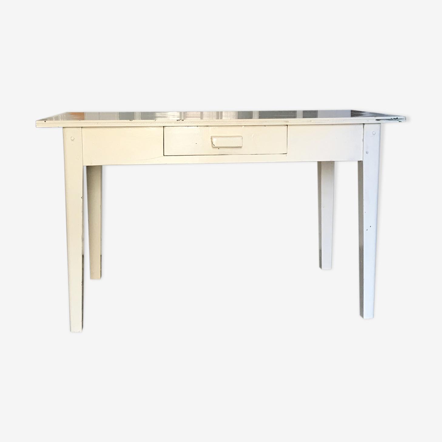Table ancienne blanche en bois
