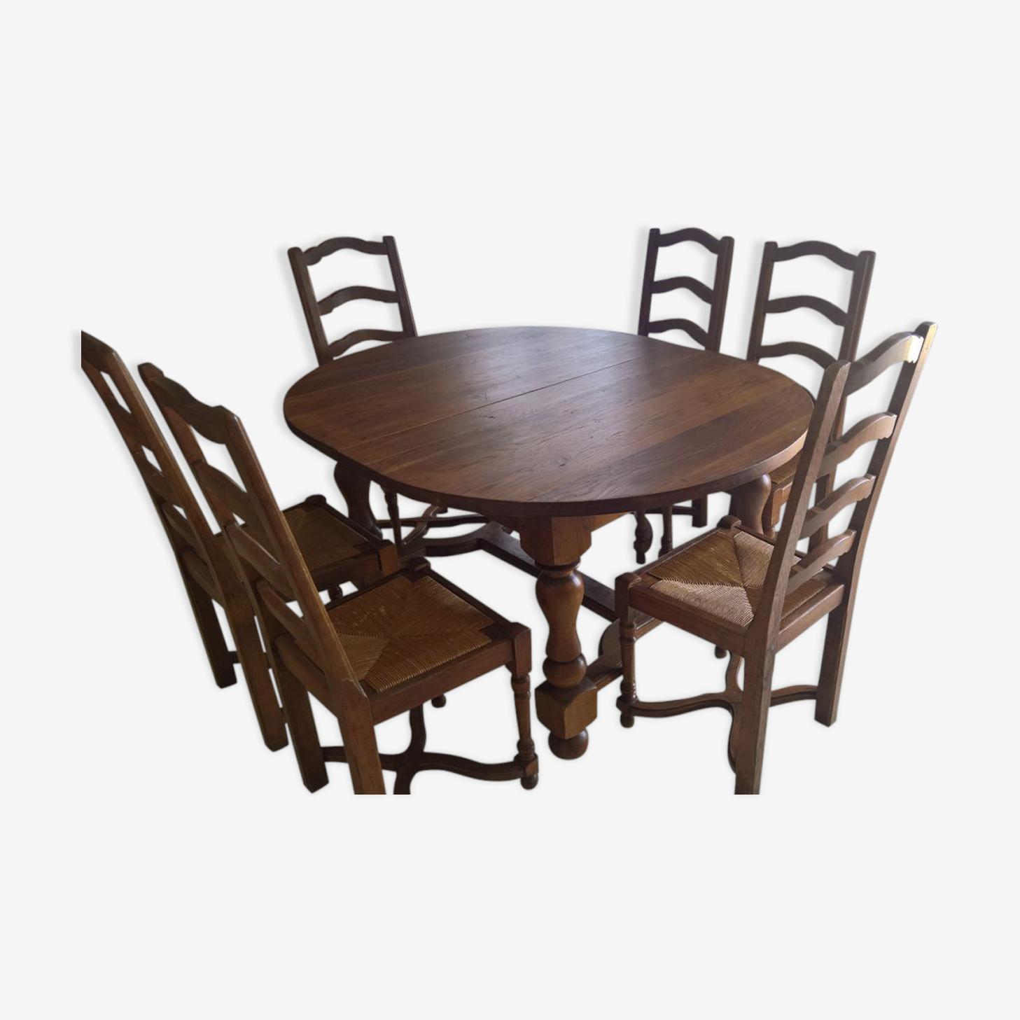 Table Ovale Chene Massif Avec Rallonges Bois Materiau Bois
