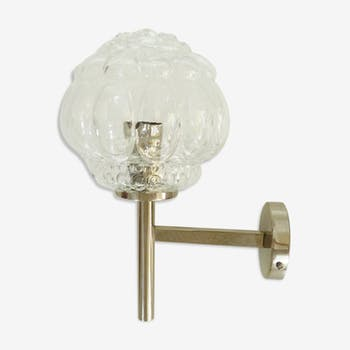 Glass metal and glass globe wall sconce