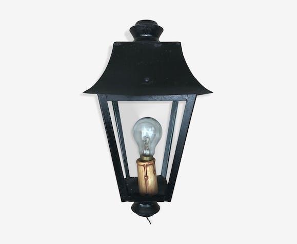 Lampadaire ancien lanterne métal noir + plaques verre années 70 vintage