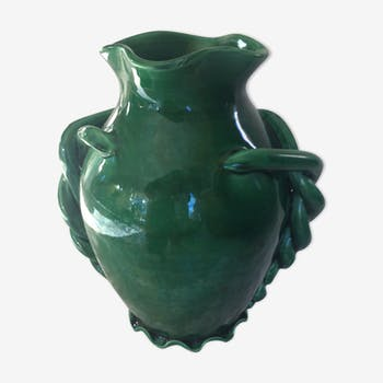 Vase vert en céramique des années 50
