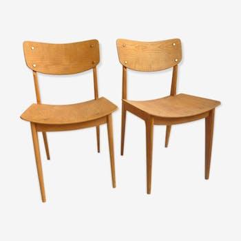 Paire de chaises bois années 50
