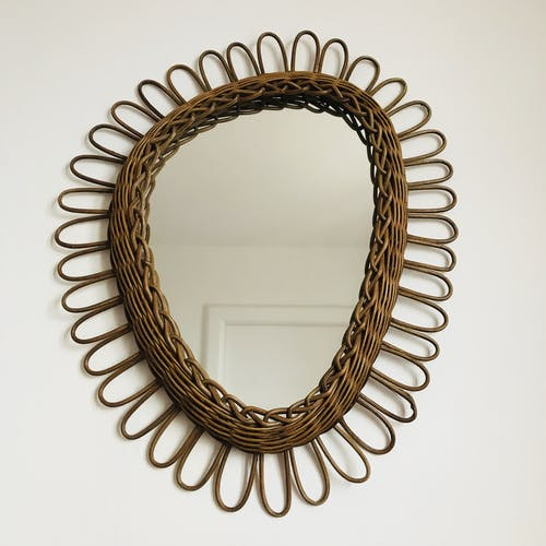 Miroir rotin forme rétroviseur 49x60cm