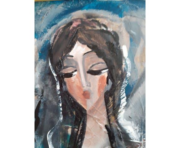 Portrait de femme aux cheveux longs