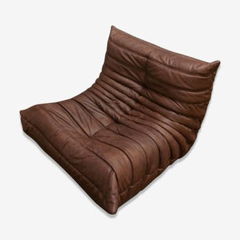 """""""Togo"""" chair leather by Michel Ducaroy for line Roset"""