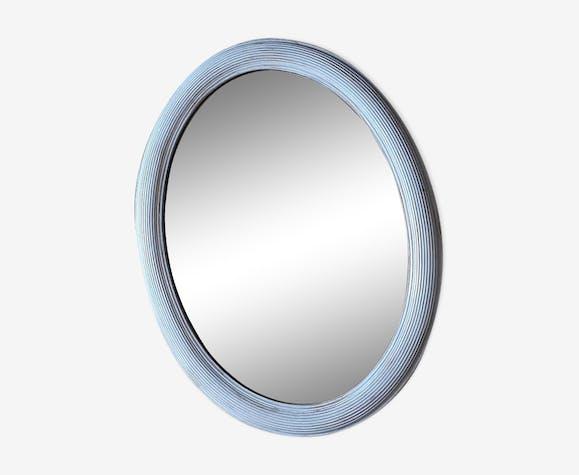 Miroir ovale biseauté blanc brossé or 70x55cm