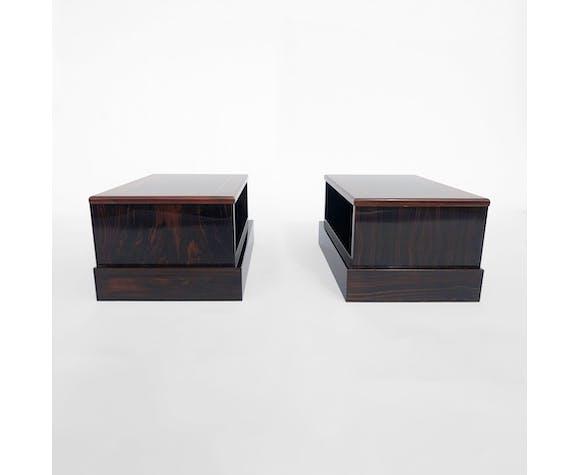 Tables de chevet en macassar laqué des années 70 par Paolo Barracchia, Roman Deco