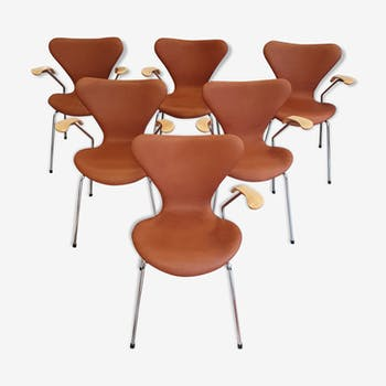 6 armchairs 3207 by Arne Jacobsen for Fritz hansen