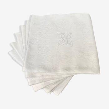 Lot de 6 serviettes damassées avec monogramme