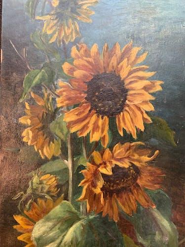 Tableau vintage fleurs , pissenlits