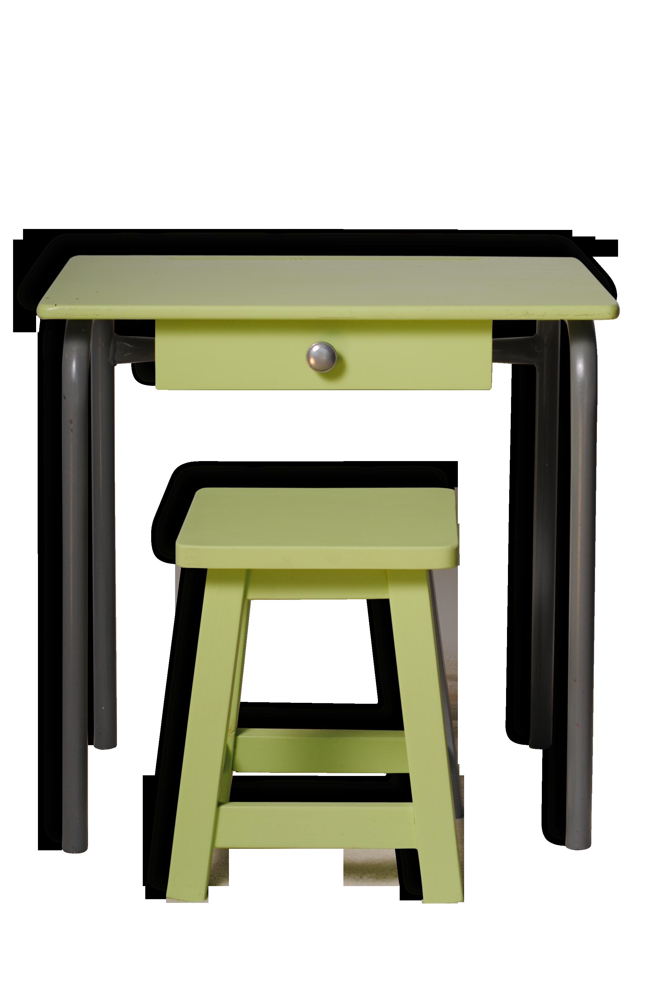 Bureau enfant vert avec son tabouret bois matériau vert