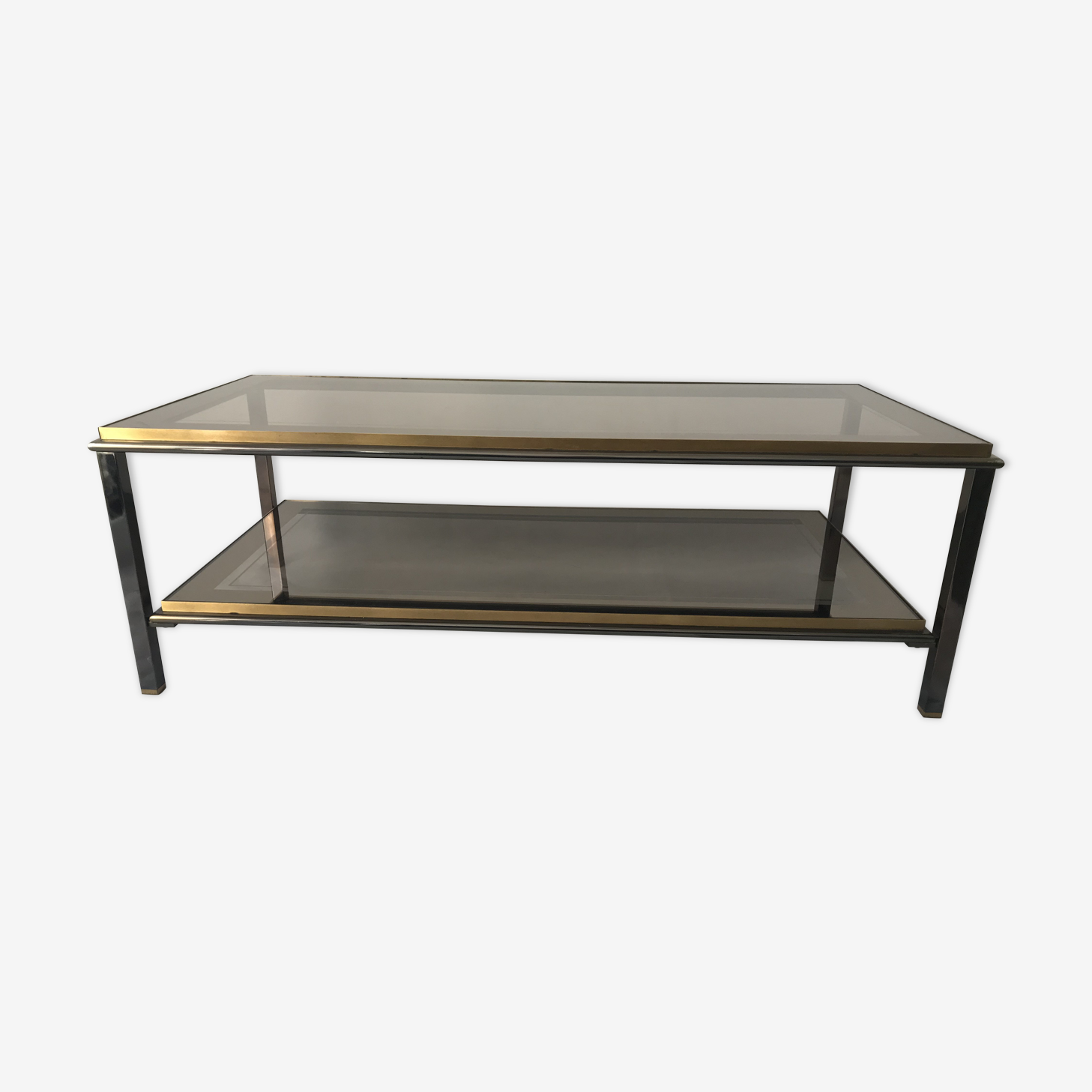 Table basse double étage verre 1970/1980