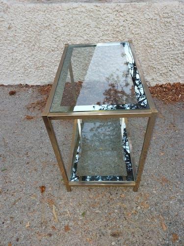 Table vintage en laiton et verre