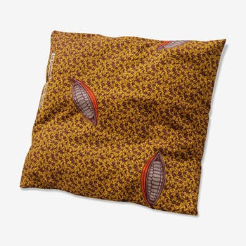 Coussin wax jaune motifs cacao