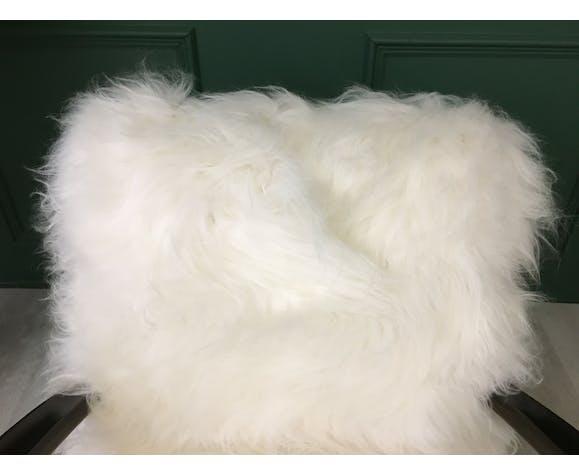 White real Sheepskin Vintage Art Deco Bentwood chair armchair H269 J.Halabala