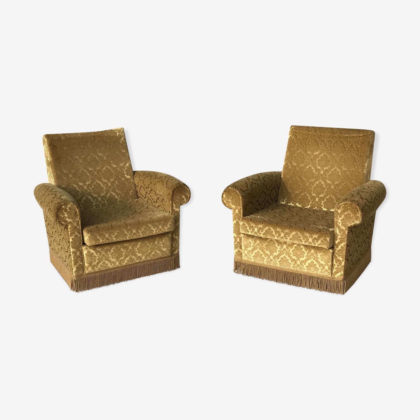 Lot de 2 fauteuils ocre
