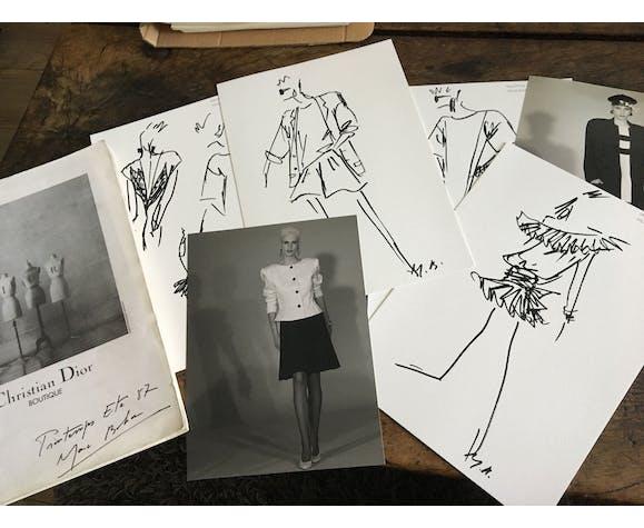 Illustration de mode de presse Christian Dior collection printemps-été 1987