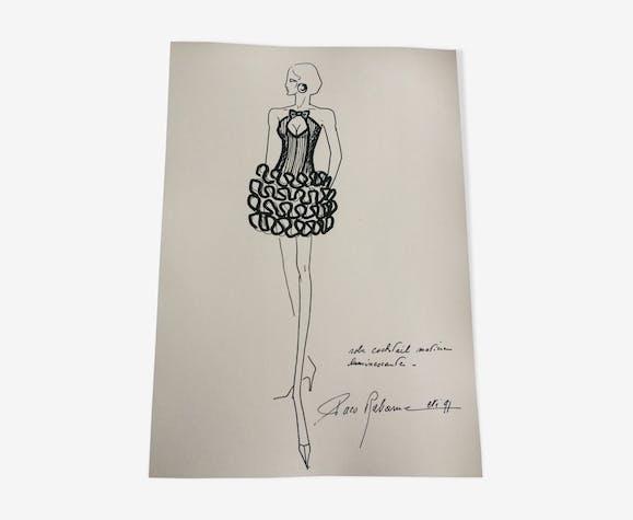 Illustration de mode de presse par Paco Rabanne, années 90