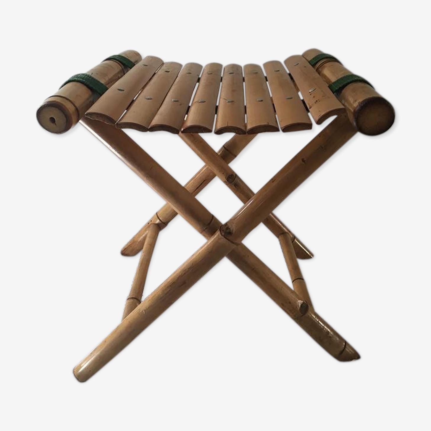 Tabouret pliant vintage en bambou