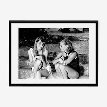 Jane Birkin et Romy Schneider sur le plateau du film La Piscine