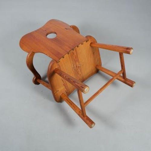 Armchair vintage solid pine handmade by Bo Fjaestad, 1930 s