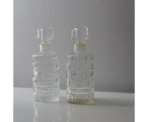 Chiseled glass carafes