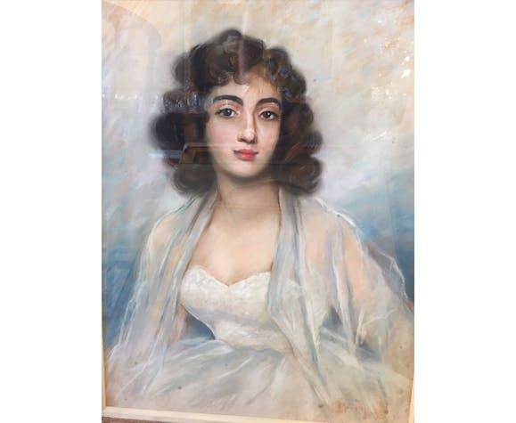 Portrait femme au pastel