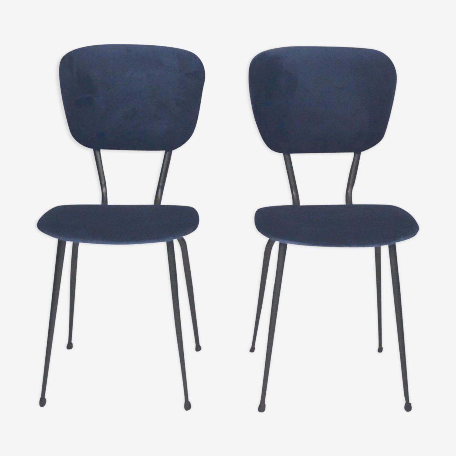 Paire de chaises velours bleu profond