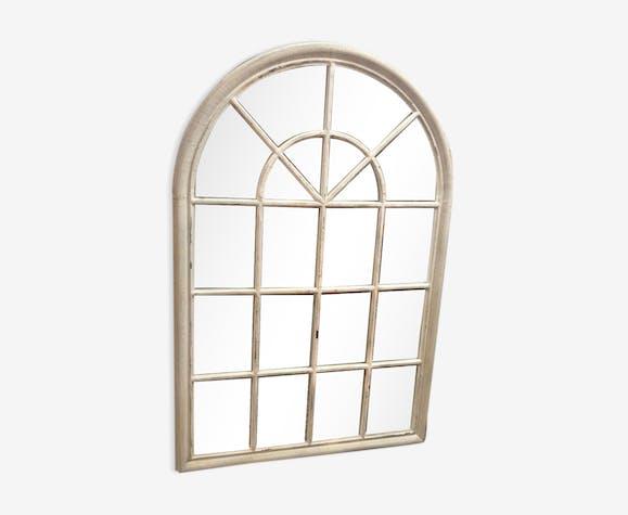 Miroir Façon Fenêtre En Bois Blanchi 151x100 Cm Wood Beige