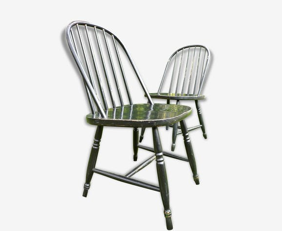 """suite de quatre chaises """"américaines"""" - bois (matériau) - noir"""