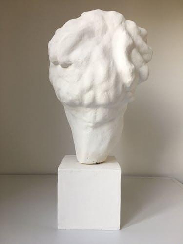 Tête grecque d'Hygie d'ap Scopas art grec hellénistique en terre cuite blanchie façon plâtre