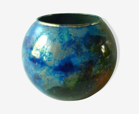 vase boule en verre laqu sign laque line ann es 80 verre et cristal bleu vintage taxwhfk. Black Bedroom Furniture Sets. Home Design Ideas