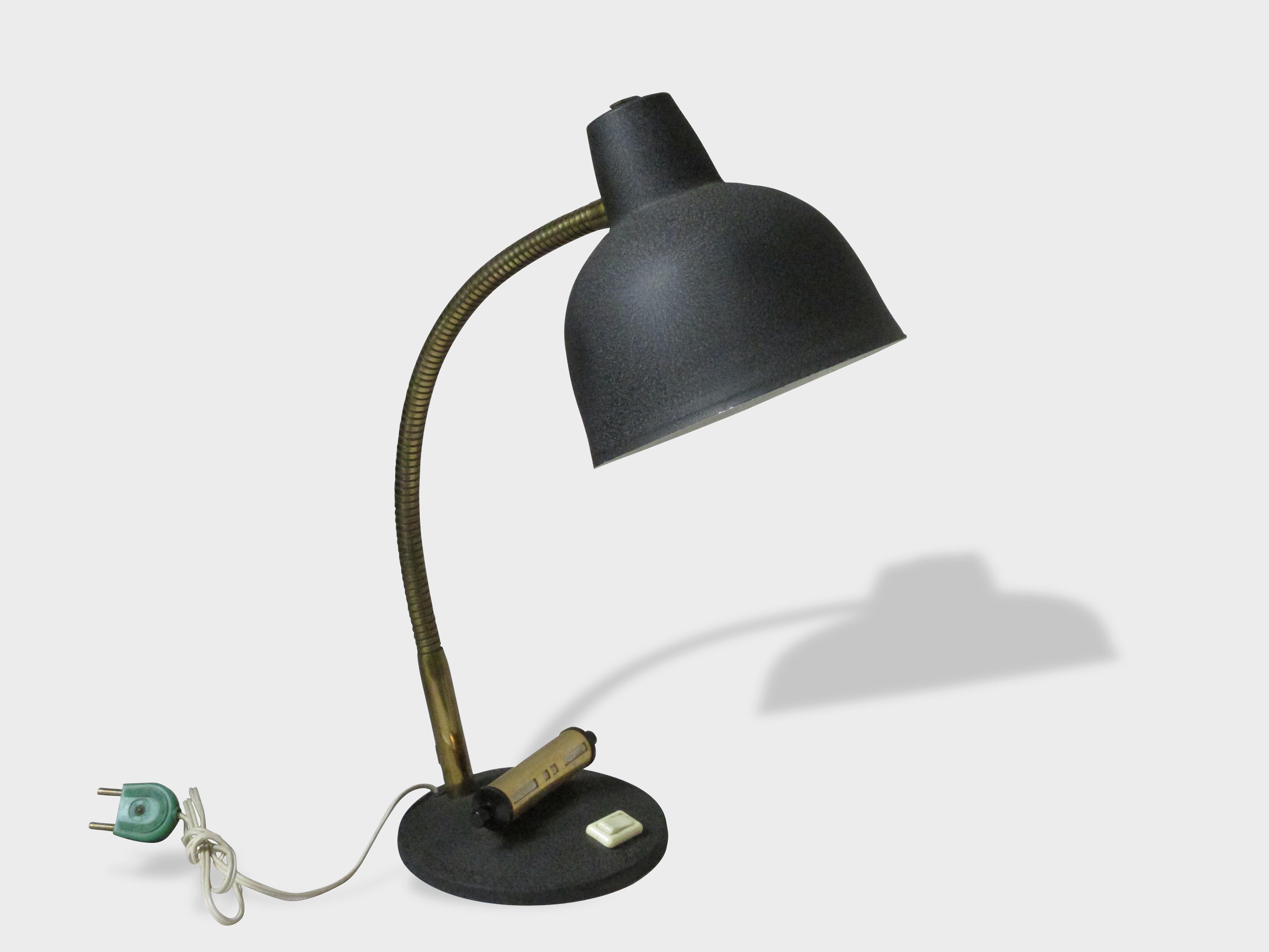 Lampe de bureau noire métal granuleux métal noir vintage