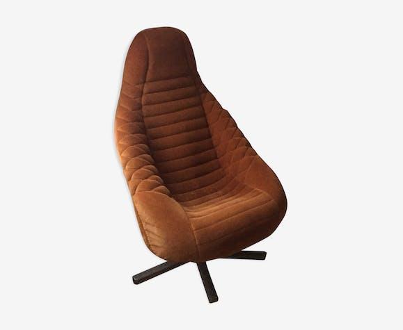 fauteuil baquet des ann es 70 tissu marron vintage. Black Bedroom Furniture Sets. Home Design Ideas