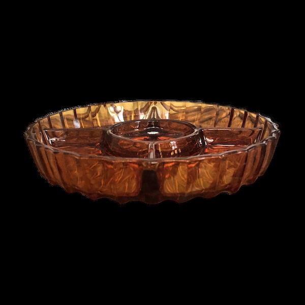 Plat présentoir apéritif rond verre taillé couleur brun FR Vintage