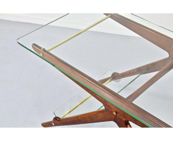 Table basse italienne du milieu du siècle en bois laiton et verre. Vintage / Moderne / Rétro / Scandinave.