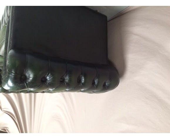 Canapé chesterfield cuir vert deux places
