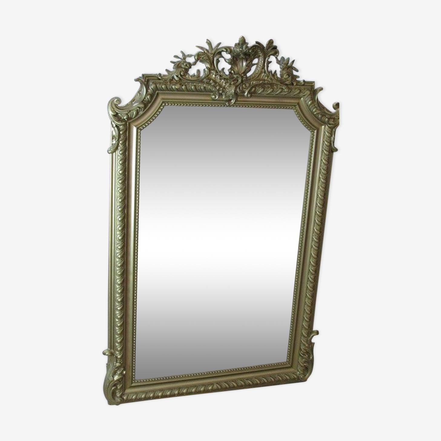 Miroir en bois et stuc doré 81x128cm
