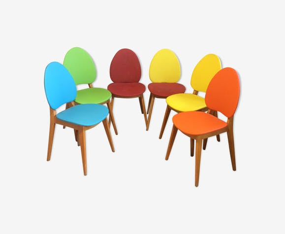 Set of 6 vintage chairs (4 + 2) skaï and compass legs 1950/60
