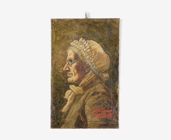 Portrait «la vieille dame» par H. Etievant, huile sur toile, 1885.