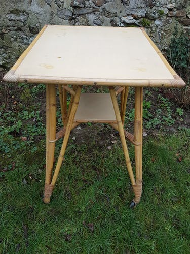 Table service or extra, vintage, rattan, 2 trays, roulette