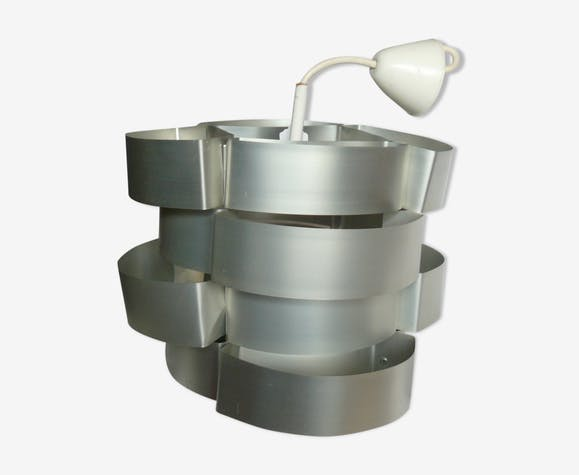 Suspension à lamelles métalliques Max Sauze lustre design 1960-70
