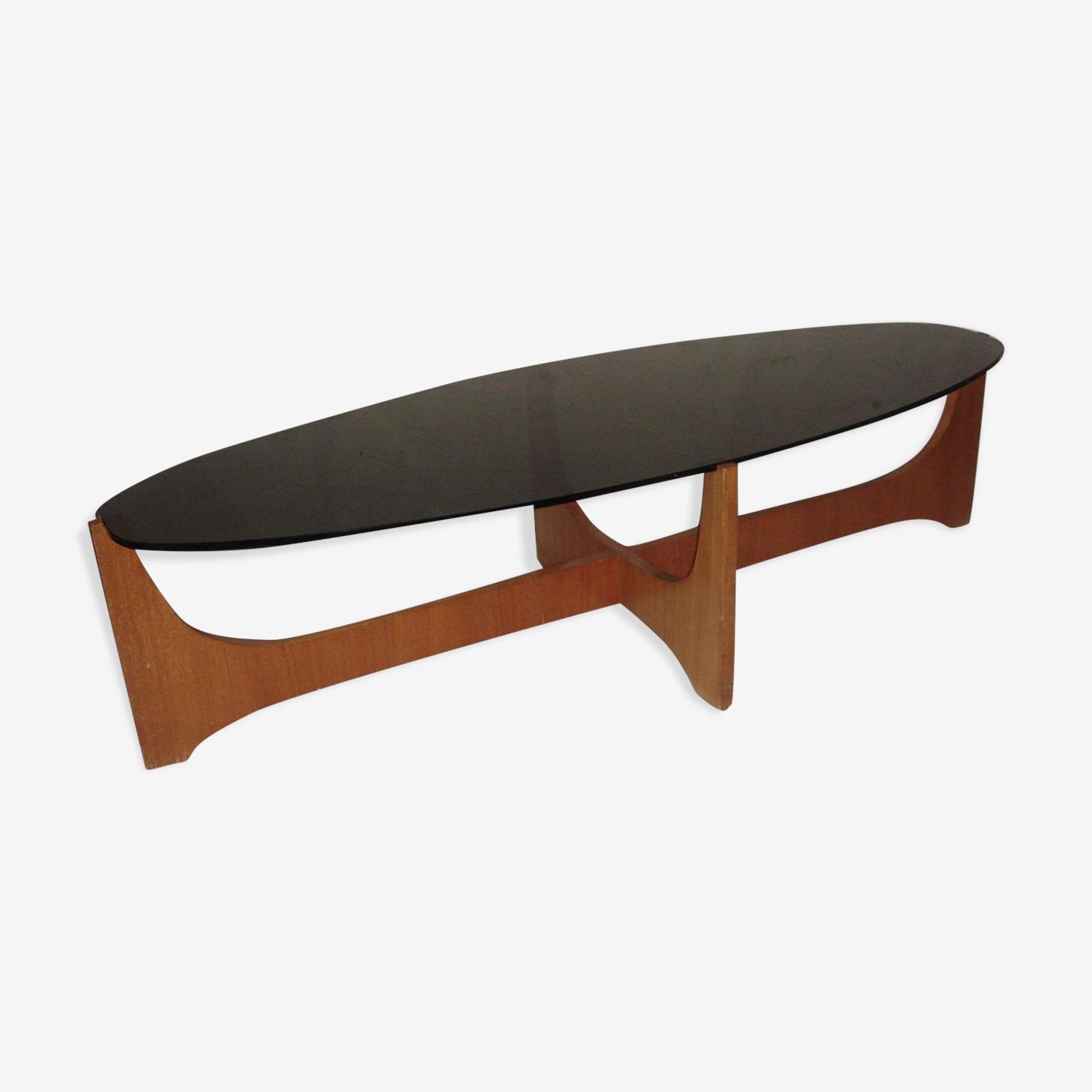 Table astro scandinave en bois et verre fumé de 1960-70