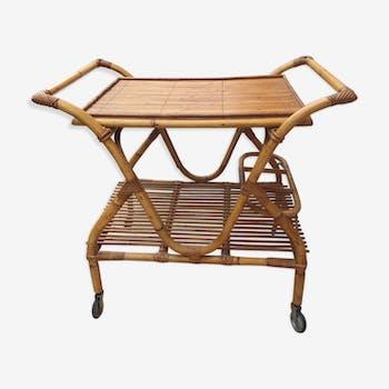 Table roulante en osier naturel des années 70