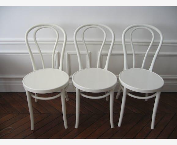 3 CHAISES IKEA modèle ÖGLA OGLA blanc blanche vintage