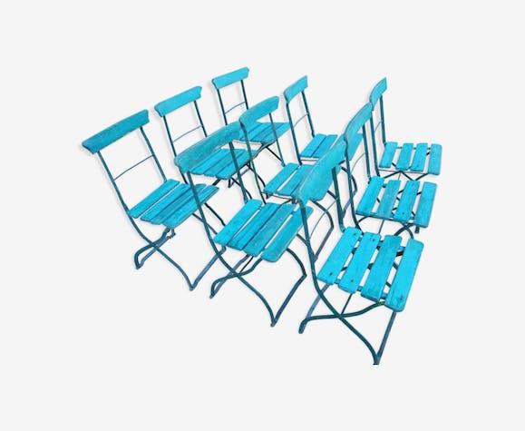 Lot de 9 chaises pliantes de jardin fer & bois anciennes du ...
