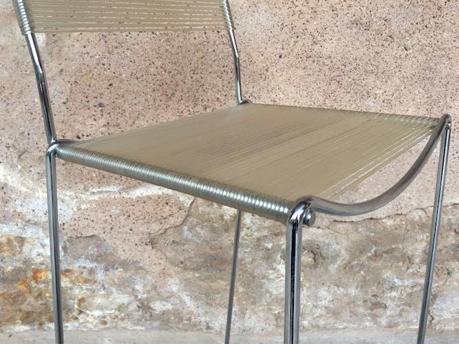 Tabouret bar haut scoubidou vintage structure chromé