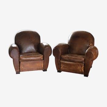 Lot de  2 fauteuils club
